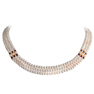 Pearl Necklaces-3 Line Round Pearl Necklace