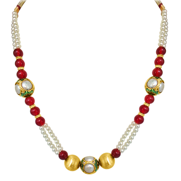 2 Line Shell Pearl & Red Beads Necklace