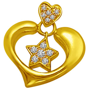 Diamond Pendants-Star in My Heart Gold & Diamond Pendant