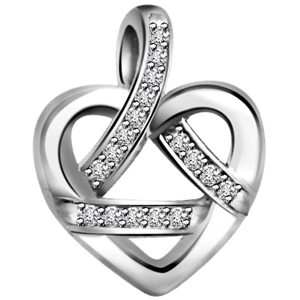 Diamond Pendants-Diamond White Gold Heart Pendant