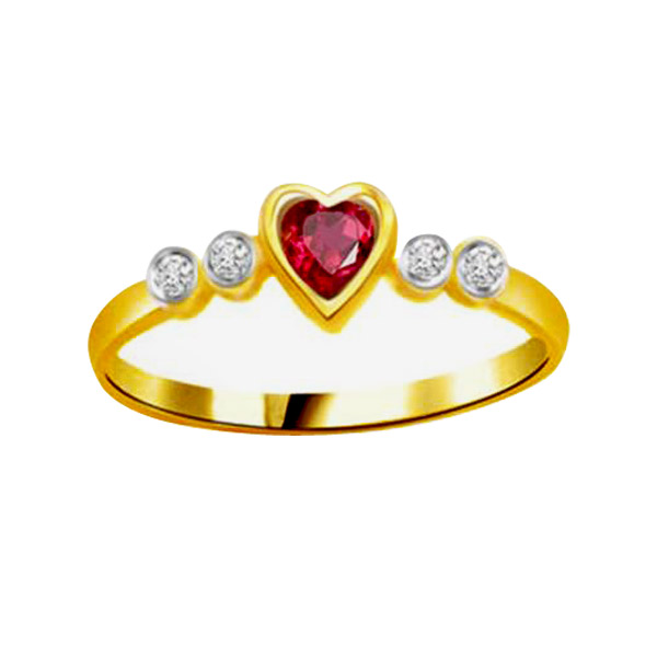 Diamond-Diamond & Ruby Heart Ring