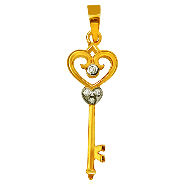 Key Shaped Gold Diamond Pendant
