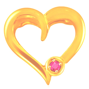 Precious Stone Pendant-Heart Shaped Gold Ruby Pendant