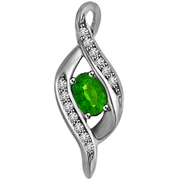 Diamond & Oval Emerald Pendant