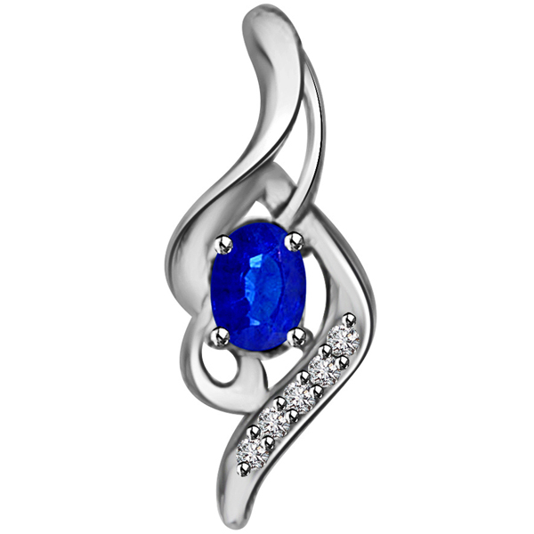 Diamond Pendants-Diamond & Oval Sapphire Pendant