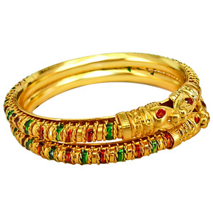 Gold / Silver Plated Bangles-Lion Faced Gold Plated Bangles - Set of 2