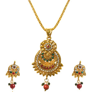 Gold Plated Sets-Pendant Necklace & Earrings Set