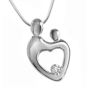 Diamond Pendants-Bond Forever - Diamond & Silver Pendant with Chain