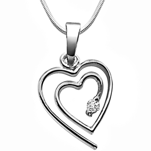 Diamond Pendants-Diamond & Silver Pendant with Chain
