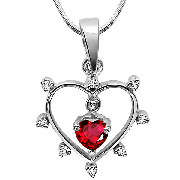 Diamond Pendants-Queen of All Jewels - Diamond & Silver Pendant with Chain