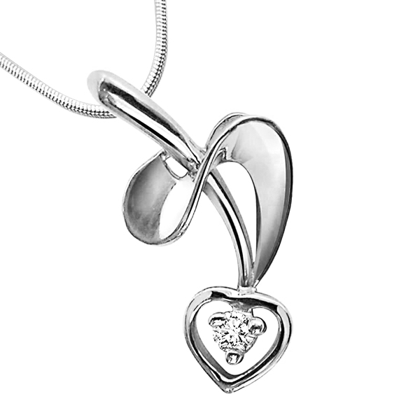 Twisted Love - Diamond & Silver Pendant with Chain