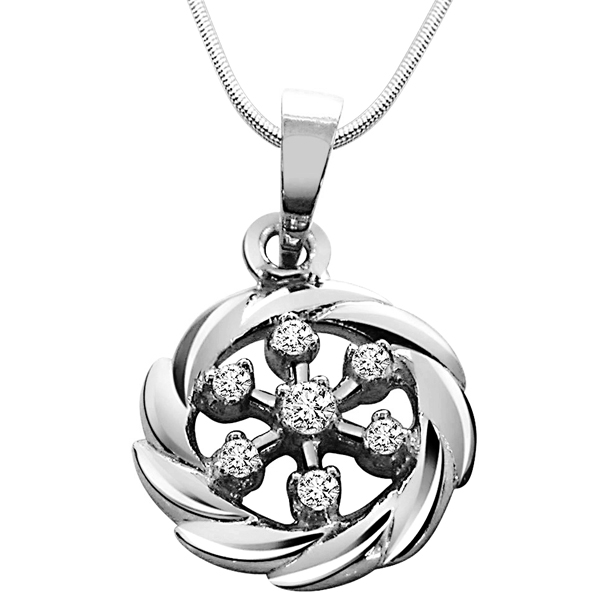 Royal Twist - Diamond & Silver Pendant with Chain