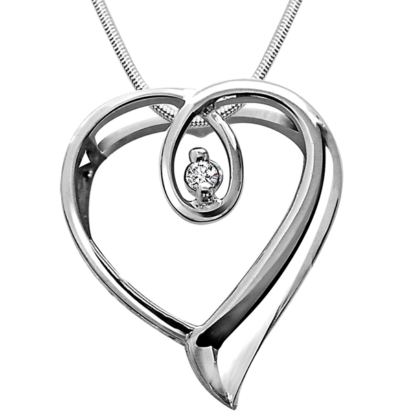 Diamond Pendants-Heart Queen - Diamond & Silver Pendant with Chain