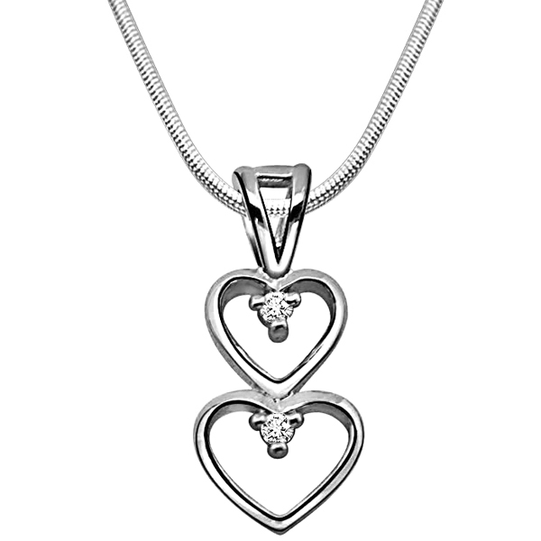 Magical Heart - Diamond & Silver Pendant with Chain