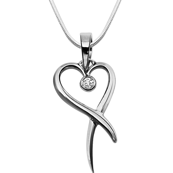 Holder of Love - Diamond & Silver Pendant with Chain