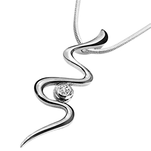Diamond Pendants-Twisty Silver - Diamond & Silver Pendant with Chain
