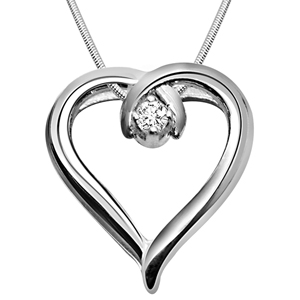 Diamond Pendants-Global Love - Diamond & Silver Pendant with Chain