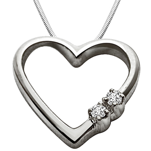 Diamond Pendants-Express Your Love - Diamond & Silver Pendant with Chain