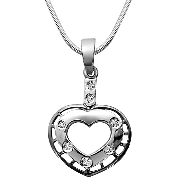 Game of Love - Diamond & Silver Pendant with Chain