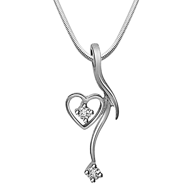 Dangling Heart - Diamond & Silver Pendant with Chain