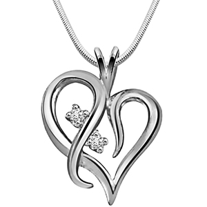 Diamond Pendants-With You Always - Diamond & Silver Pendant with Chain