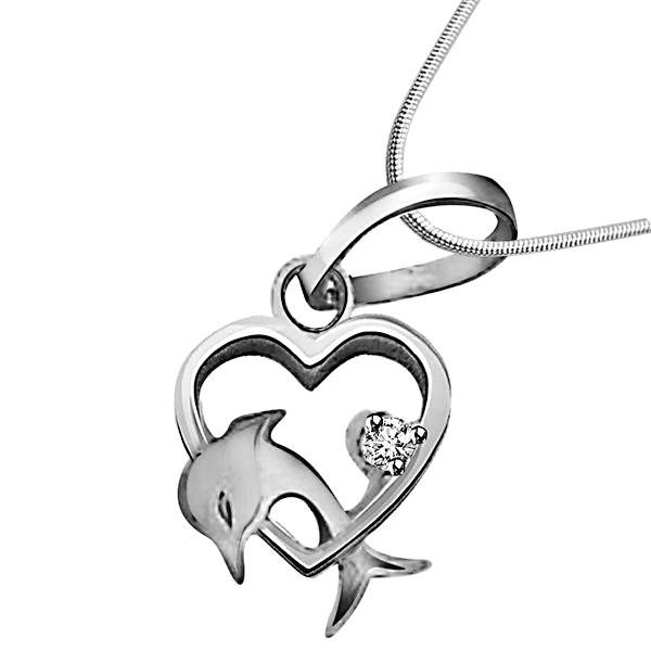 Dolphin Heart - Diamond & Silver Pendant with Chain