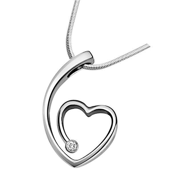 Diamond Pendants-Nature's Heart - Diamond & Silver Pendant with Chain