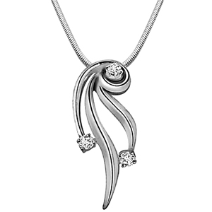 Diamond Pendants-Nature's Divine Glory - Diamond & Silver Pendant with Chain