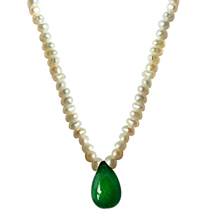 Pearl Necklaces-Green Onyx & Freshwater Pearl Necklace