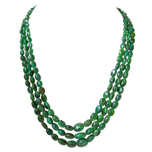 Precious Stone Necklaces-3 Line Green Oval Emerald Necklace