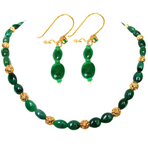 Precious Stone Sets-Oval Emerald Bead Necklace & Earrings Set