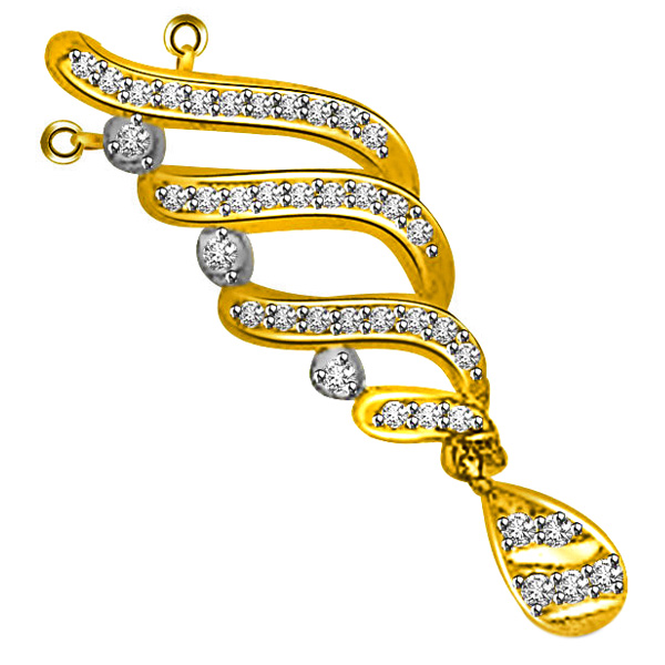 Diamond and Gold Drop Pendant