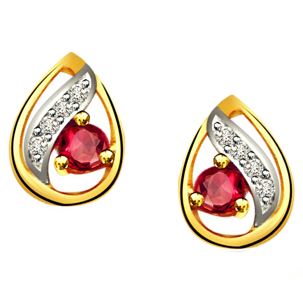 Diamond Earrings-Drop Shape Diamond & Ruby Earrings