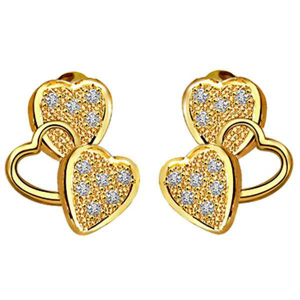 Diamond Earrings-Heart Shape Diamond Earrings