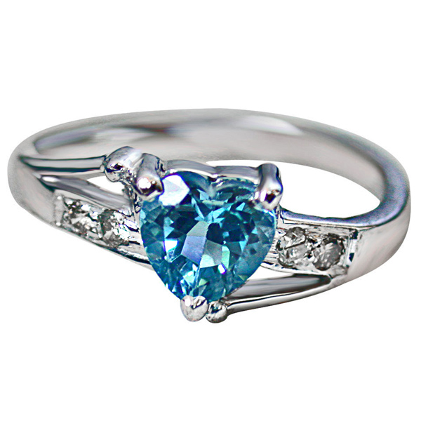 Diamond Blue Topaz Heart Shape Silver Ring