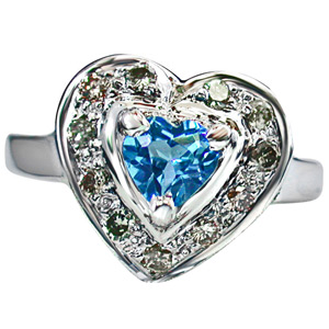 Diamond-Diamond Heart Shape Swiss Blue Topaz Silver Ring