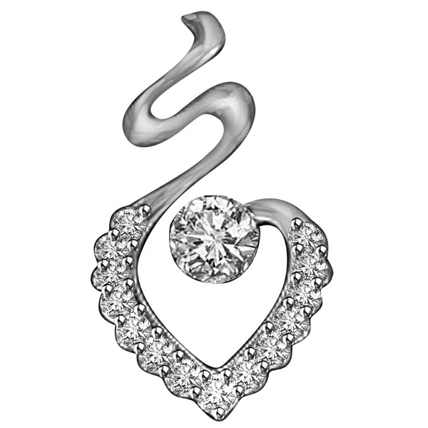 White Gold & Diamond Solitaire Pendant