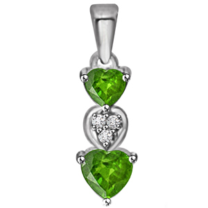 Diamond Pendants-Heart Shaped Emerald and Diamond Pendant