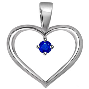 Gold Pendants-Blue Solitaire Sapphire White Gold Heart Pendant