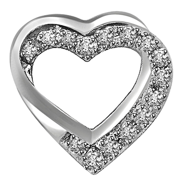 Double Heart Shaped Pendant In White Gold