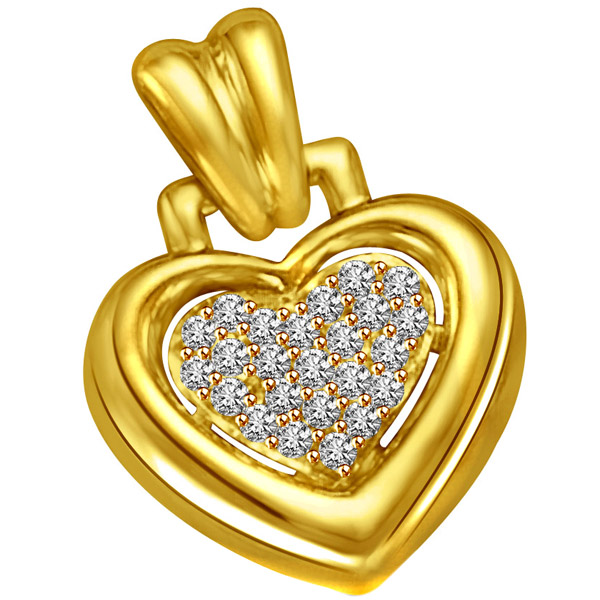 Diamond Filled Heart Gold Pendant