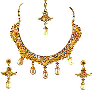 Gold Plated Sets-Necklace, Earrings & Manga Tikka Jewellery Set