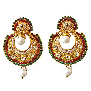Gold Plated Earrings-Traditional Round Shaped Red, Green & White Stones & Gold Plated Earrings