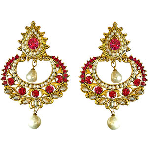 Gold Plated Earrings-Pink Stone, Shell Pearl & Gold Plated Hanging Earrings
