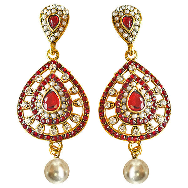 Drop Shaped Red & White Colored Stone, Shell Pearl & Gold Plated Earrings