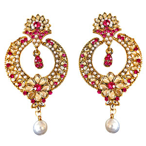 Gold Plated Earrings-Trendy Pink & White Colored Stone, Shell Pearl & Gold Plated Earrings