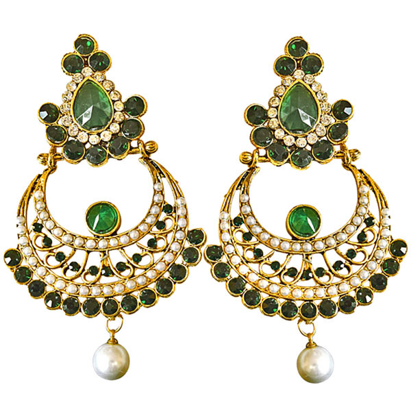 Gold Plated Earrings-Ethnic Green & White Colored Stone & Shell Pearl & Gold Plated Earrings