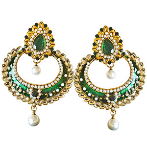 Gold Plated Earrings-Traditional Green & White Colored Stone, Shell Pearl & Gold Plated Earrings