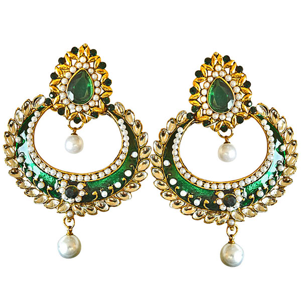 Traditional Green & White Colored Stone, Shell Pearl & Gold Plated Earrings