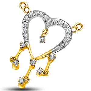 Diamond Pendants-Diamond and Gold Heart Shape Pendant